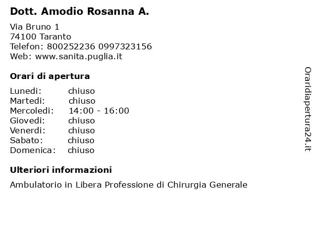 Dott. Amodio Rosanna A. a Taranto: indirizzo e orari di apertura