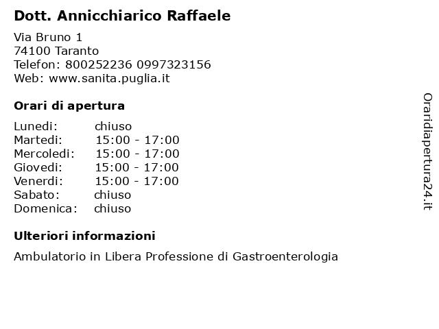 Dott. Annicchiarico Raffaele a Taranto: indirizzo e orari di apertura