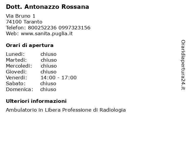 Dott. Antonazzo Rossana a Taranto: indirizzo e orari di apertura