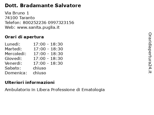 Dott. Bradamante Salvatore a Taranto: indirizzo e orari di apertura