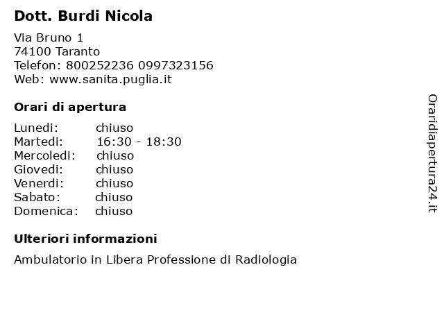 Dott. Burdi Nicola a Taranto: indirizzo e orari di apertura
