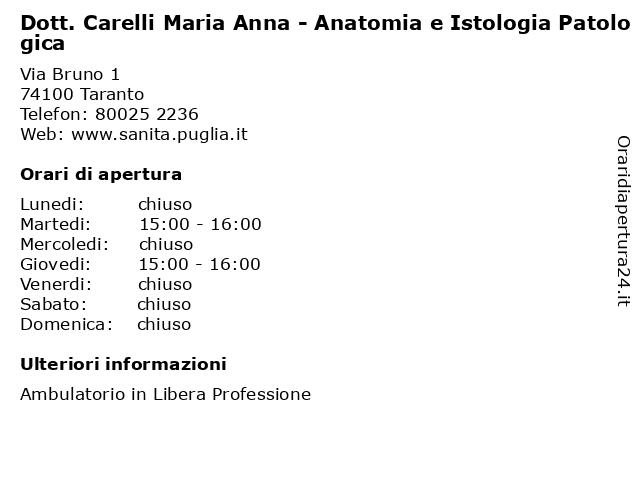 Dott. Carelli Maria Anna - Anatomia e Istologia Patologica a Taranto: indirizzo e orari di apertura