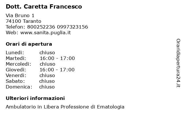 Dott. Caretta Francesco a Taranto: indirizzo e orari di apertura