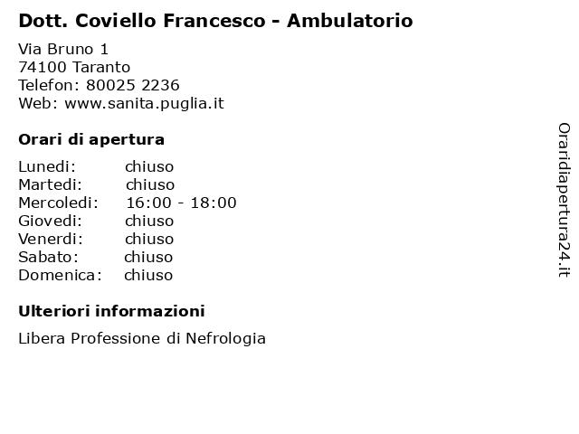 Dott. Coviello Francesco - Ambulatorio a Taranto: indirizzo e orari di apertura
