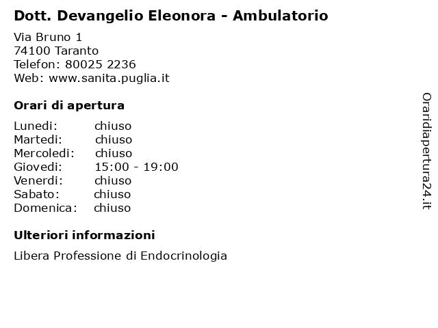 Dott. Devangelio Eleonora - Ambulatorio a Taranto: indirizzo e orari di apertura