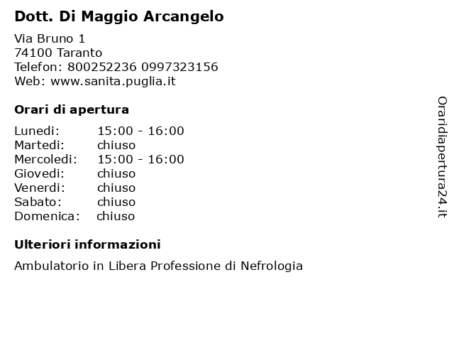 Dott. Di Maggio Arcangelo a Taranto: indirizzo e orari di apertura