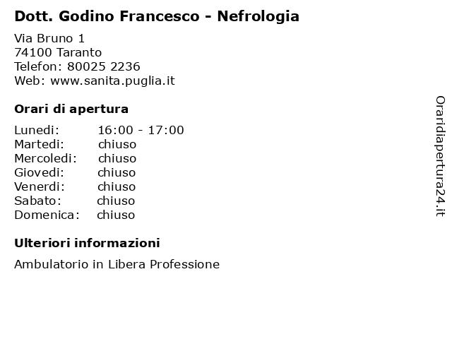 Dott. Godino Francesco - Nefrologia a Taranto: indirizzo e orari di apertura