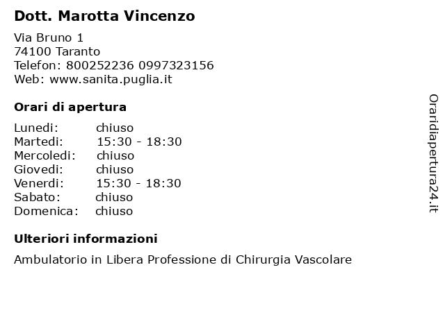 Dott. Marotta Vincenzo a Taranto: indirizzo e orari di apertura