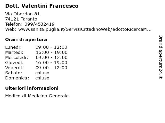 Dott. Valentini Francesco a Taranto: indirizzo e orari di apertura