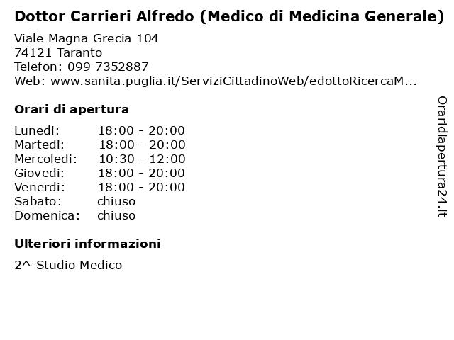 Dottor Carrieri Alfredo (Medico di Medicina Generale) a Taranto: indirizzo e orari di apertura