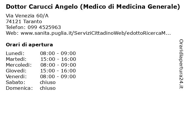 Dottor Carucci Angelo (Medico di Medicina Generale) a Taranto: indirizzo e orari di apertura