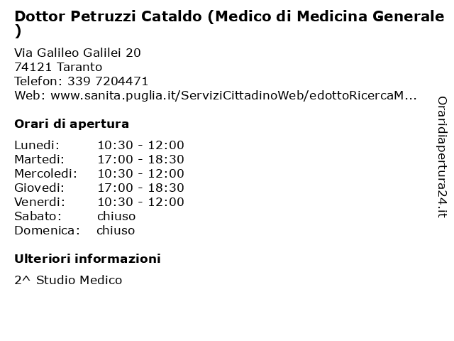 Dottor Petruzzi Cataldo (Medico di Medicina Generale) a Taranto: indirizzo e orari di apertura
