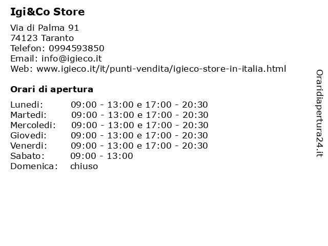 Igi&Co Store a Taranto: indirizzo e orari di apertura
