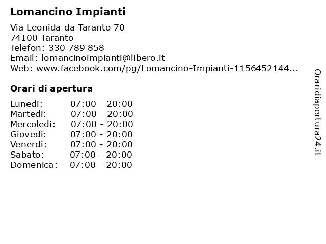 Lomancino Impianti a Taranto: indirizzo e orari di apertura