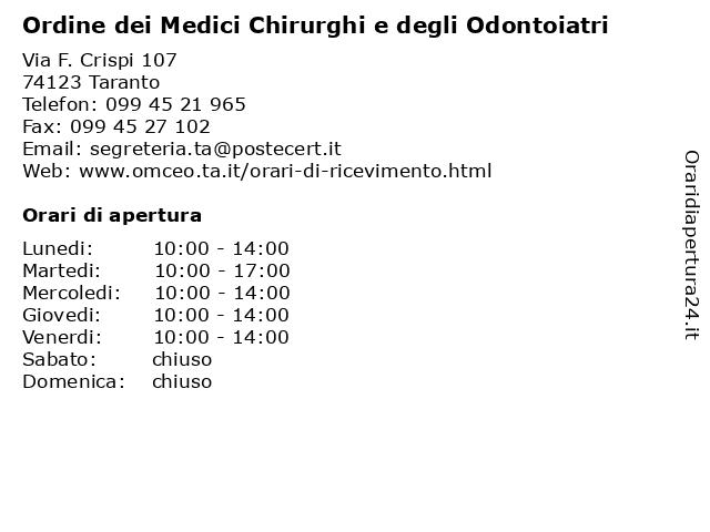 Ordine dei Medici Chirurghi e degli Odontoiatri a Taranto: indirizzo e orari di apertura