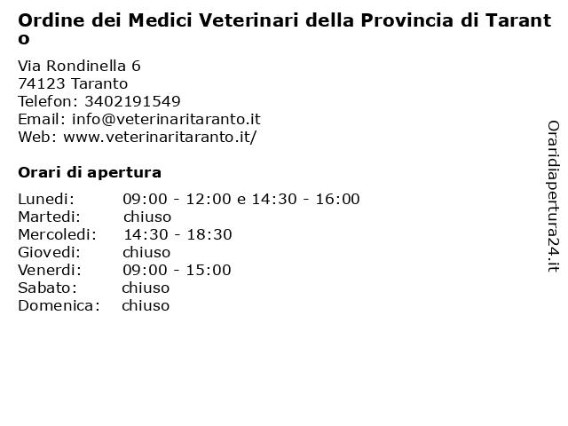 Ordine dei Medici Veterinari della Provincia di Taranto a Taranto: indirizzo e orari di apertura
