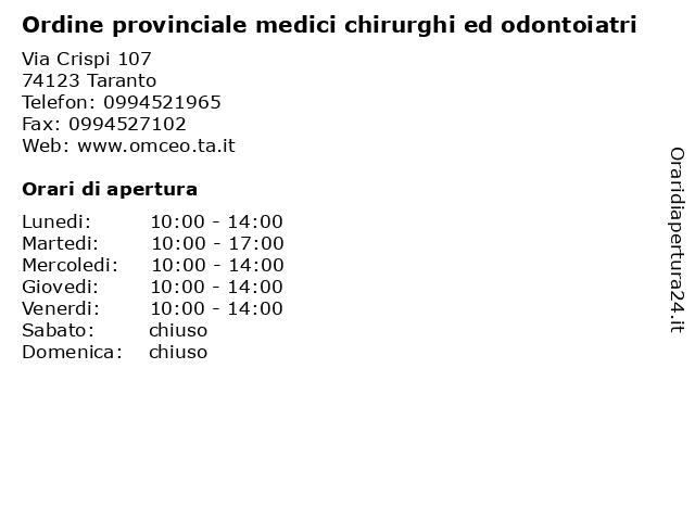 Ordine provinciale medici chirurghi ed odontoiatri a Taranto: indirizzo e orari di apertura