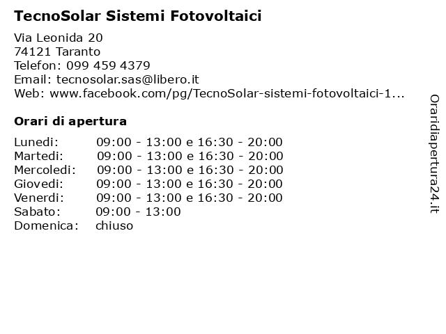 TecnoSolar Sistemi Fotovoltaici a Taranto: indirizzo e orari di apertura