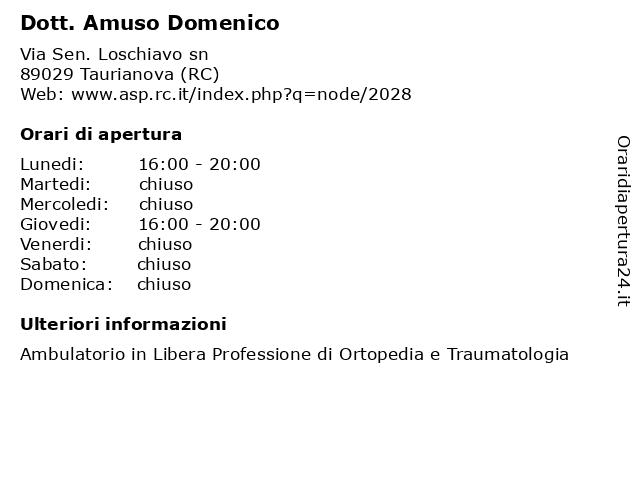 Dott. Amuso Domenico a Taurianova (RC): indirizzo e orari di apertura