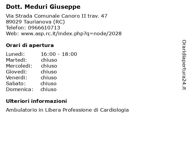 Dott. Meduri Giuseppe a Taurianova (RC): indirizzo e orari di apertura