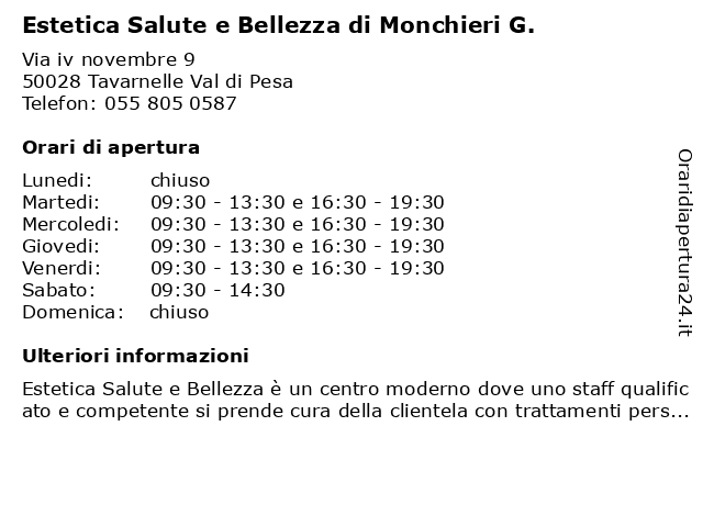 Á… Orari Estetica Salute E Bellezza Di Monchieri G Via Iv Novembre 9 50028 Tavarnelle Val Di Pesa