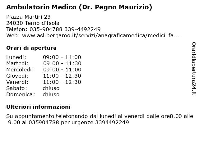 Ambulatorio Medico (Dr. Pegno Maurizio) a Terno d'Isola: indirizzo e orari di apertura