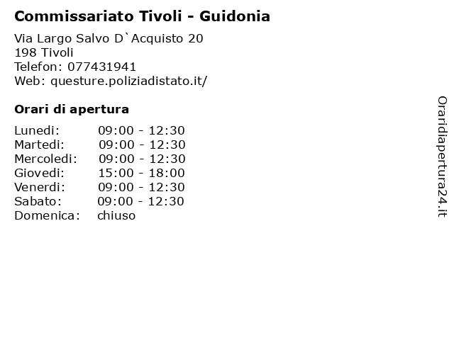 ᐅ Orari Di Apertura Commissariato Tivoli Guidonia Via Largo Salvo D Acquisto