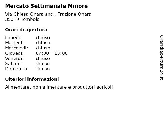 Mercato Settimanale Minore a Tombolo: indirizzo e orari di apertura