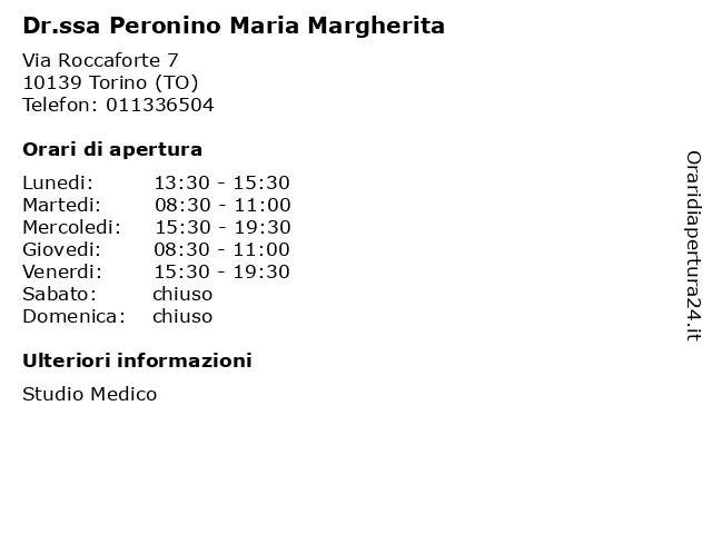 Dr.ssa Peronino Maria Margherita a Torino (TO): indirizzo e orari di apertura