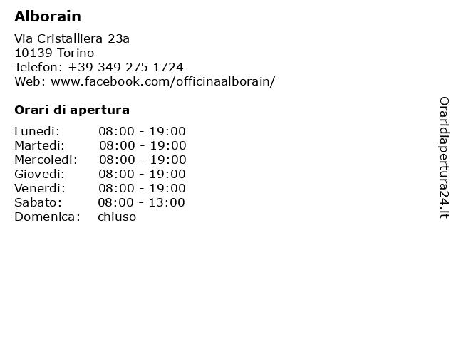 Alborain a Torino: indirizzo e orari di apertura