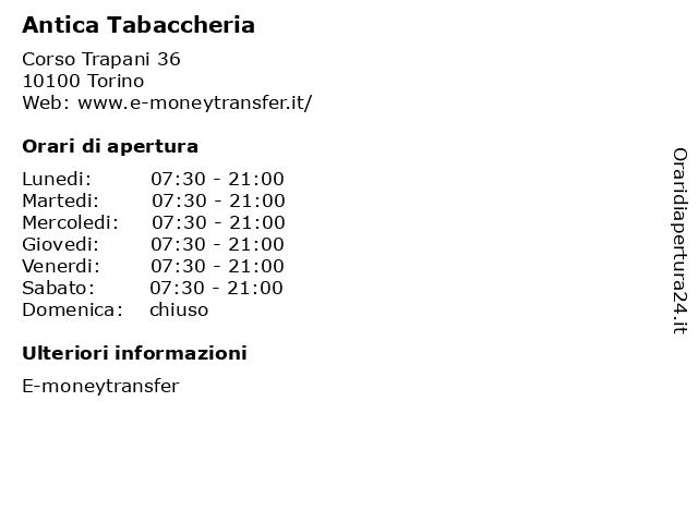 Antica Tabaccheria a Torino: indirizzo e orari di apertura