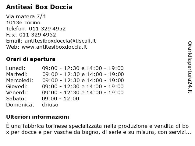 Antitesi Box Doccia Torino.ᐅ Orari Antitesi Box Doccia Via Matera 7 D 10136 Torino