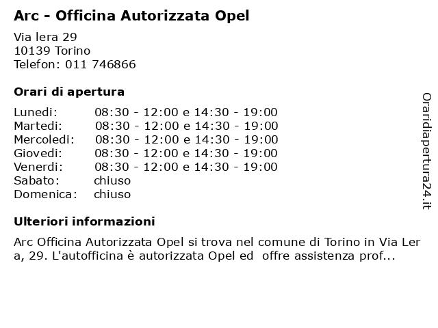 Arc - Officina Autorizzata Opel a Torino: indirizzo e orari di apertura