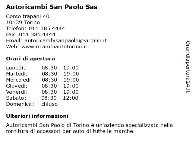 Autoricambi San Paolo Sas a Torino: indirizzo e orari di apertura