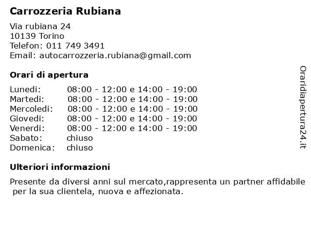 Carrozzeria Rubiana a Torino: indirizzo e orari di apertura
