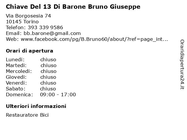 Chiave Del 13 Di Barone Bruno Giuseppe a Torino: indirizzo e orari di apertura
