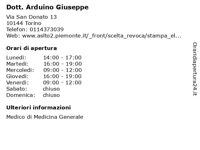 Dott. Arduino Giuseppe a Torino: indirizzo e orari di apertura