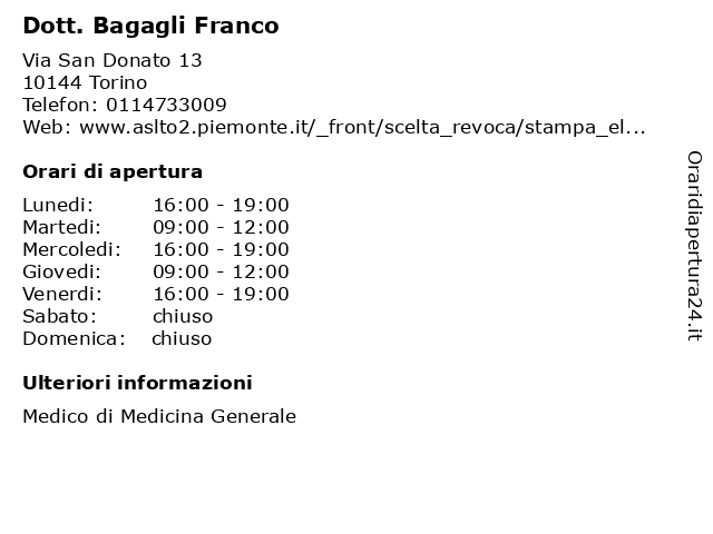 Dott. Bagagli Franco a Torino: indirizzo e orari di apertura