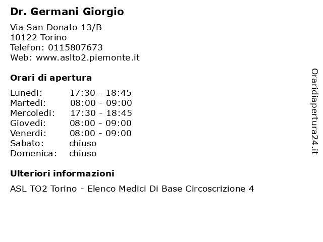 Dr. Germani Giorgio a Torino: indirizzo e orari di apertura