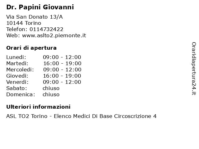 Dr. Papini Giovanni a Torino: indirizzo e orari di apertura