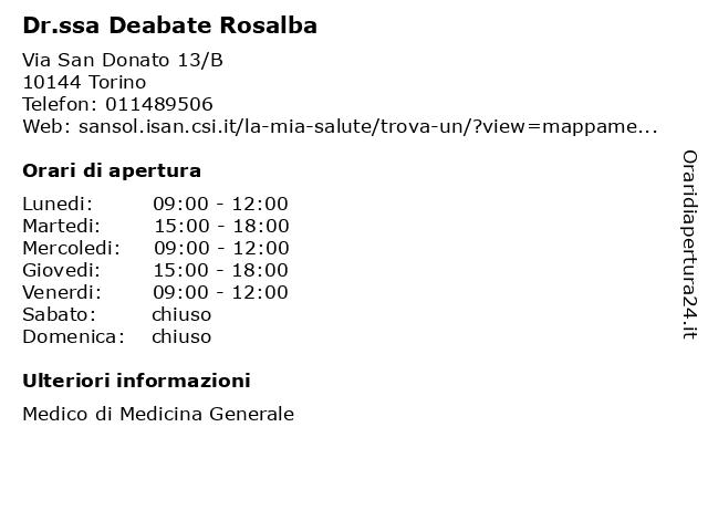 Dr.ssa Deabate Rosalba a Torino: indirizzo e orari di apertura