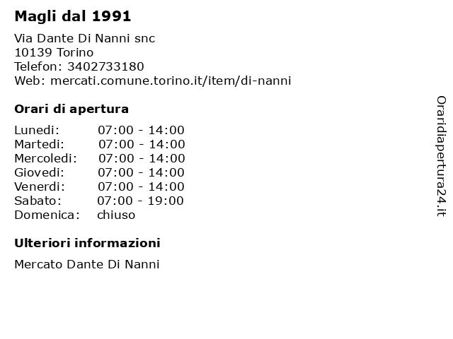Magli dal 1991 a Torino: indirizzo e orari di apertura