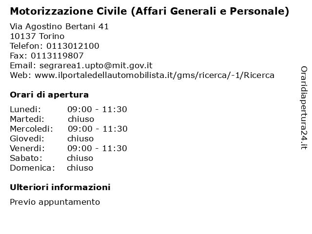 Motorizzazione Civile (Affari Generali e Personale) a Torino: indirizzo e orari di apertura