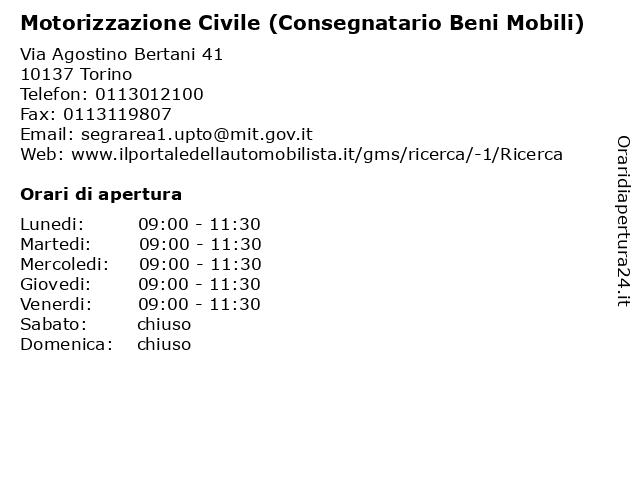 Motorizzazione Civile (Consegnatario Beni Mobili) a Torino: indirizzo e orari di apertura