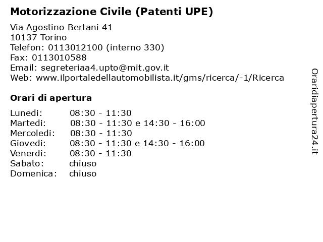 Motorizzazione Civile (Patenti UPE) a Torino: indirizzo e orari di apertura