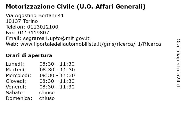 Motorizzazione Civile (U.O. Affari Generali) a Torino: indirizzo e orari di apertura