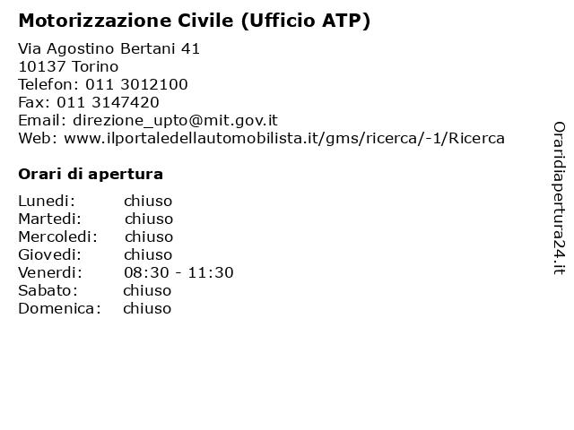 Motorizzazione Civile (Ufficio ATP) a Torino: indirizzo e orari di apertura