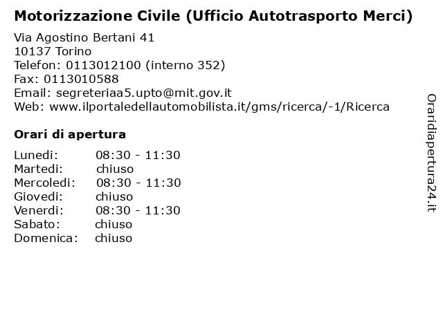 Motorizzazione Civile (Ufficio Autotrasporto Merci) a Torino: indirizzo e orari di apertura