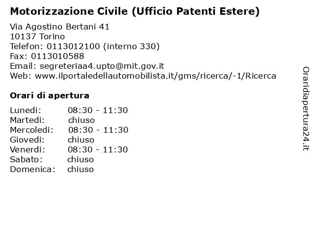 Motorizzazione Civile (Ufficio Patenti Estere) a Torino: indirizzo e orari di apertura