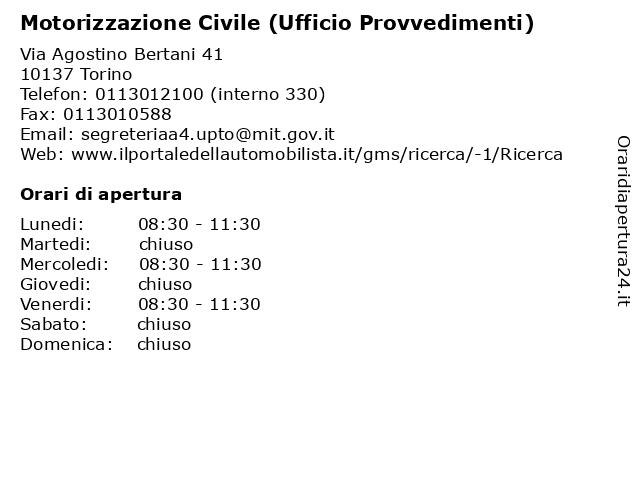 Motorizzazione Civile (Ufficio Provvedimenti) a Torino: indirizzo e orari di apertura